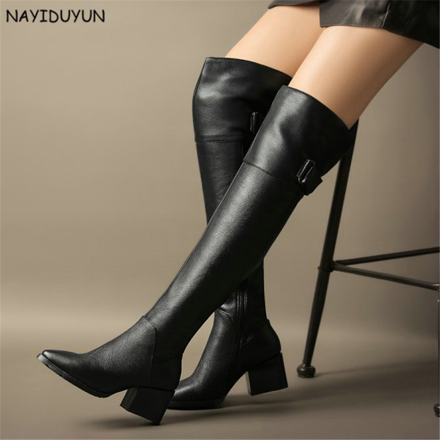 NAYIDUYUN      New Fashion Black Women Full Leather Over Knee Boots Point Toe Thigh High Boots High Heels Party Pumps Shoes nayiduyun new fashion thigh high boots women genuine leather round toe knee high boots high heel party pumps casual shoes