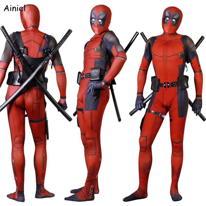 Ainiel Kids Adult Deadpool Cosplay Costume 3D Printed Lycra Spandex Zentai Deadpool Sets Accessories Halloween Costume Child Boy