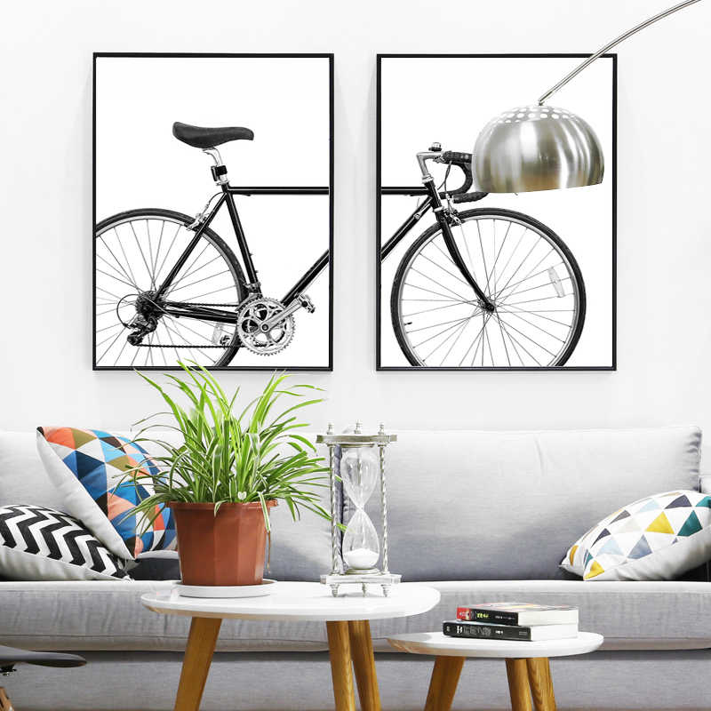 SURELIFE ミニマリストバイクプリント自転車ウォールアートキャンバス絵画黒と白北欧スカンジナビアポスター写真家の装飾