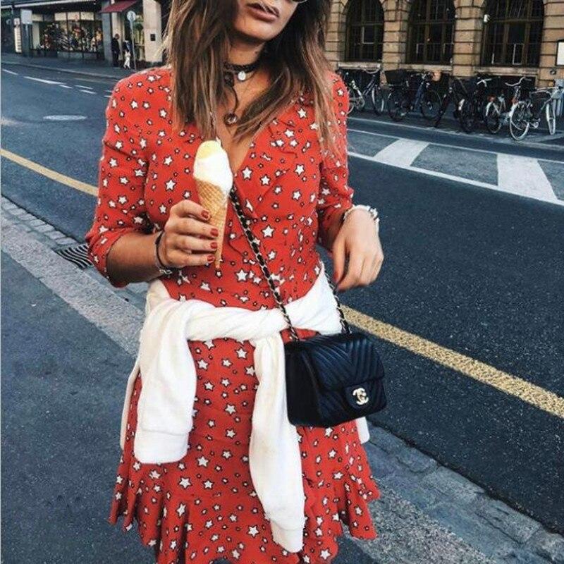 Mignon Deep Volants Impression Viscose Femmes Doux Trois Rouge Red Manches Mini V Quarts Robe À Cou Étoiles fw0HfgqPx