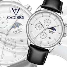 CADISEN 2019 new Mens Watches Top Brand Luxury Quartz Watch Men Waterproof Moon phase Relogio Masculino