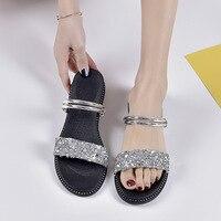 2019 summer women's sandals beach sandals casual non slip sandals silver flat women's sandals