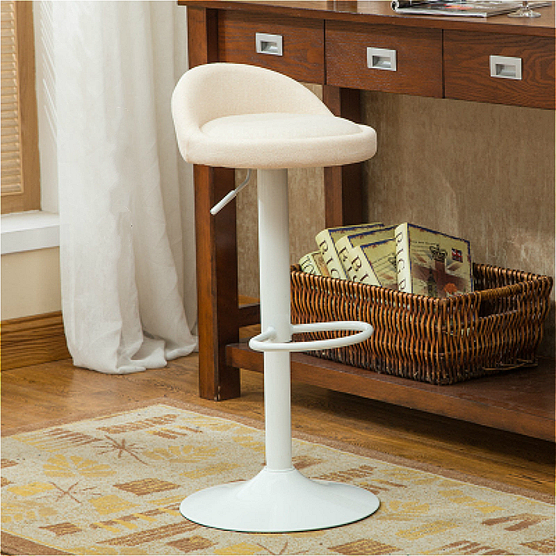 Creative Printing Lifted Bar Chair Rotated Stable Multi-function High Stool with Backrest Cloth Seat Household Leisure Stool