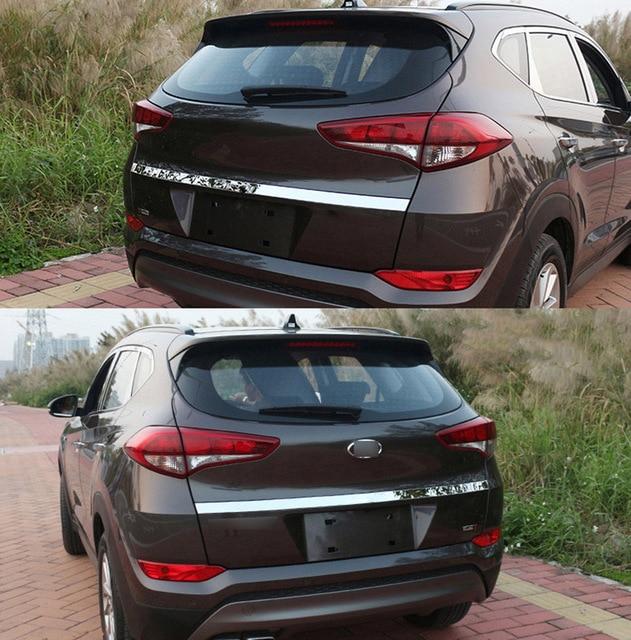 Dla Hyundai Tucson 2015 2016 2017 2018 Chrome tylne drzwi bagażnika osłona klamki Tail brama wykończenia Bezel odlewnictwo stylizacji ze stali nierdzewnej
