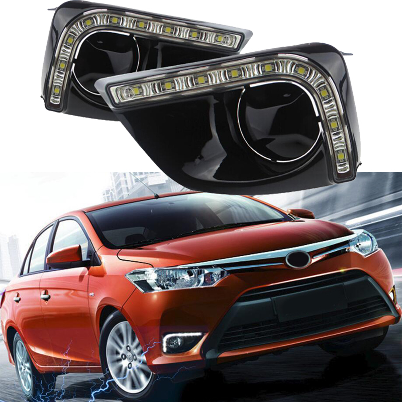 For Toyota Vios Yaris Sedan 2014 2015 Car Flashing Fog Lamp Cover Led Daytime Running Lights 12V ABS DRL crazy sales car accessories daylights led tube drl fog lamp for toyota vios yaris 2008 2012