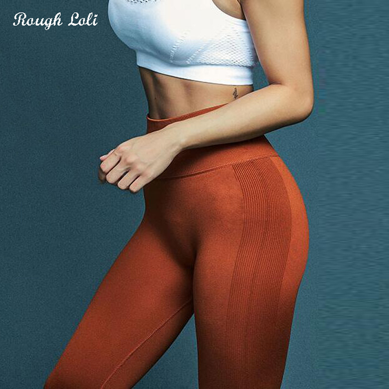 Rough Loli Energy Seamless Yoga Leggings Orange Cropped Pants Ladies Trousers Fitness Gym Tights Women scrunched leggings Capris