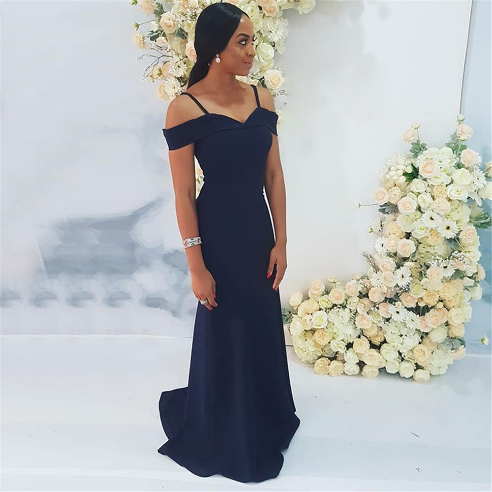 Elegant Navy Blue Mermaid Wedding Guest   Dress   2019 Spaghetti Strap Elastic Satin Floor Length Long   Bridesmaid     Dresses   Cheap