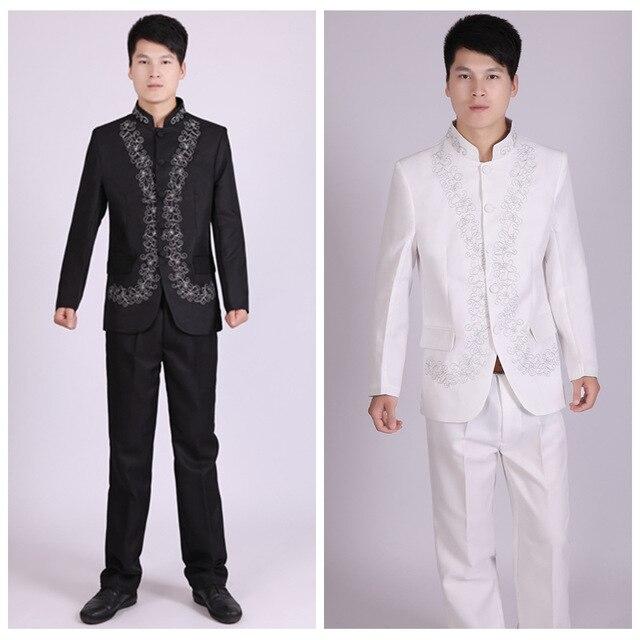 2b9263bafe54 Ricamo Tunica Colletto alla coreana Tradizionale Si Adatta Costume Maschile  Vestito Del Ricamo Abito Da Sposa