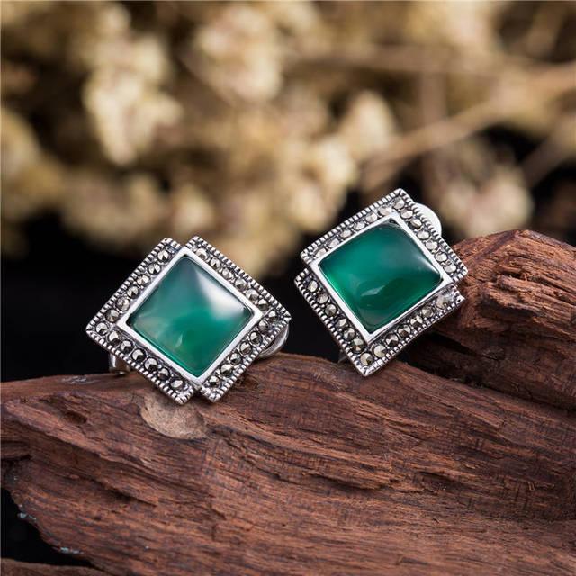 2017 New Jewerly Stud Earrings Square Women's Stud Earrings 925 Silver Fashion Yellow/Green/Pink/Black Jewelry Earrings Women