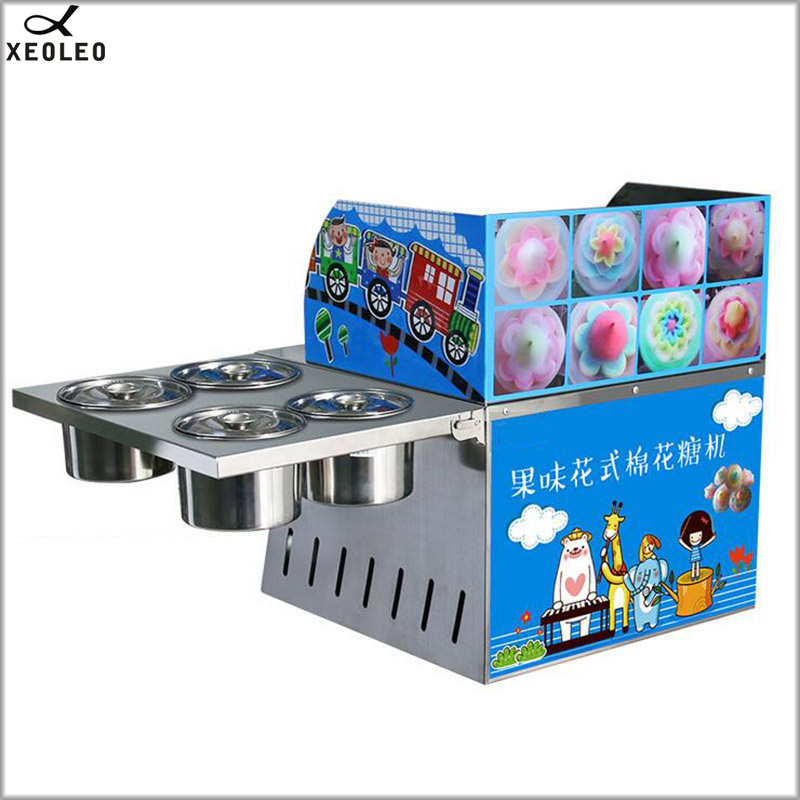 XEOLEO Gas cotton candy machine Fruity fancy cotton candy machine Sugar floss flower type Cotton Candy machine 4Storage bucket in Food Processors from Home Appliances