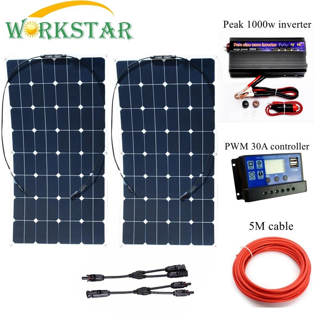 2*100 w Sunpower Flessibile Pannelli Solari con 30A Controller e 1000 w Inverter 200 w Sistema solare Kit per Principianti per CAMPER/barca