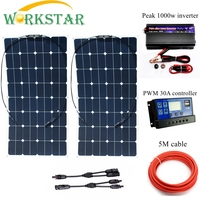 WORKSTAR 2*100W Sunpower Flexible Solar Panels with 30A Controller and 1000W Inverter 200W solar System Kit for Beginner