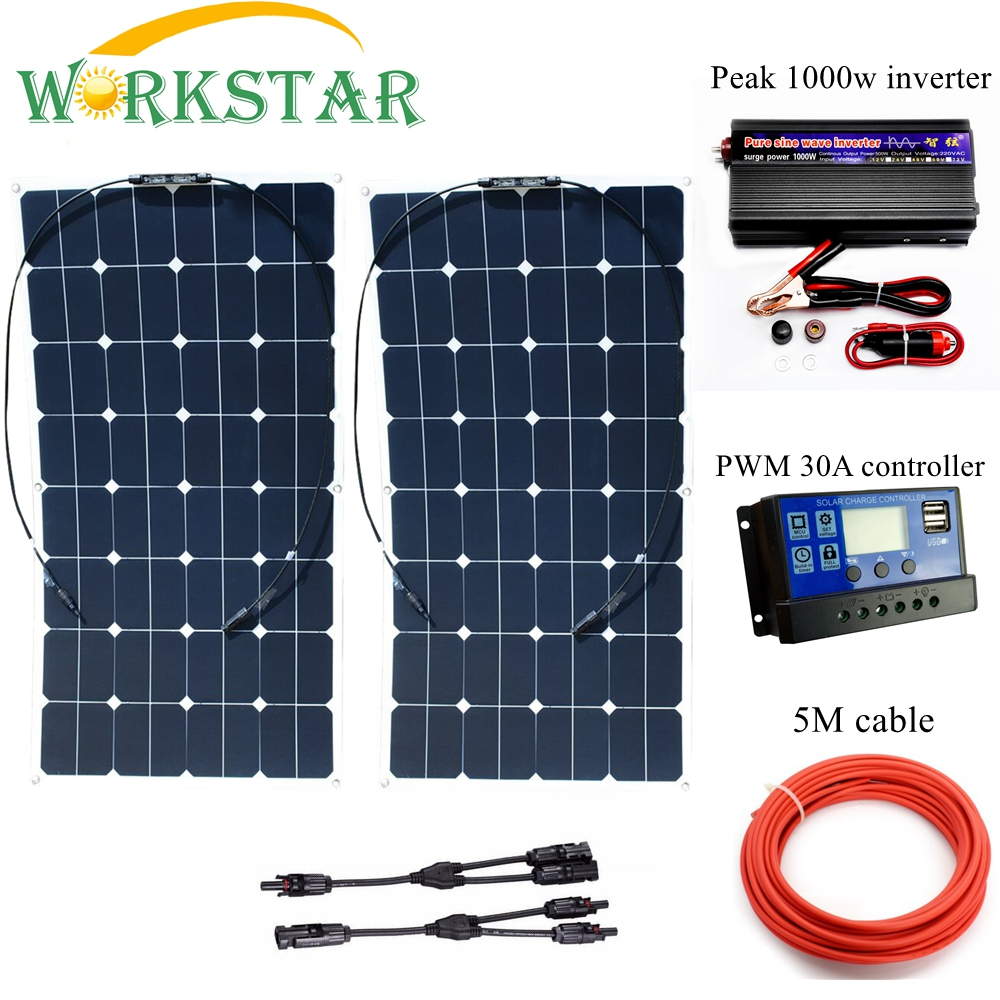 WORKSTAR 2*100W Sunpower Flexible <font><b>Solar</b></font> <font><b>Panels</b></font> with 30A Controller and 1000W Inverter <font><b>200W</b></font> <font><b>solar</b></font> System Kit for Beginner image