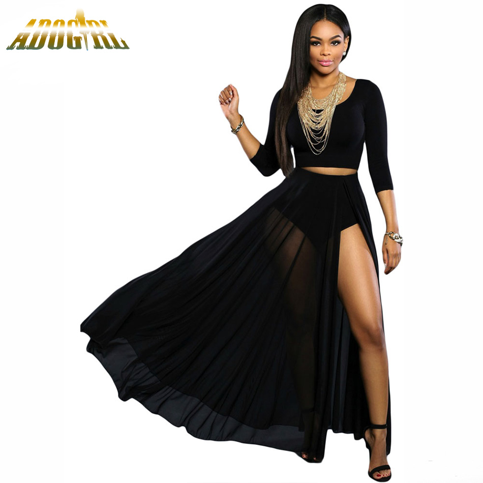 Aliexpress.com : Buy Women Long Skirts Black/White Sheer Slit High ...