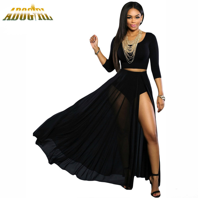 Women Long Skirts Black/White Sheer Slit High Waist Maxi Skirt Falda Larga 2016 Summer Longue Femme Casual Fashion Midi Skirt