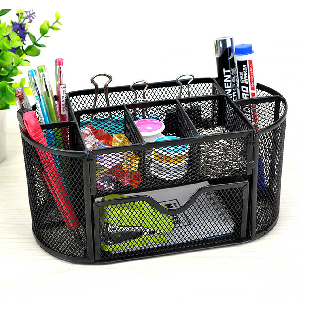 9 Storage Compartments Multi-functional Mesh Desk Organizer Pen Holder Stationery Storage Container Box Collection