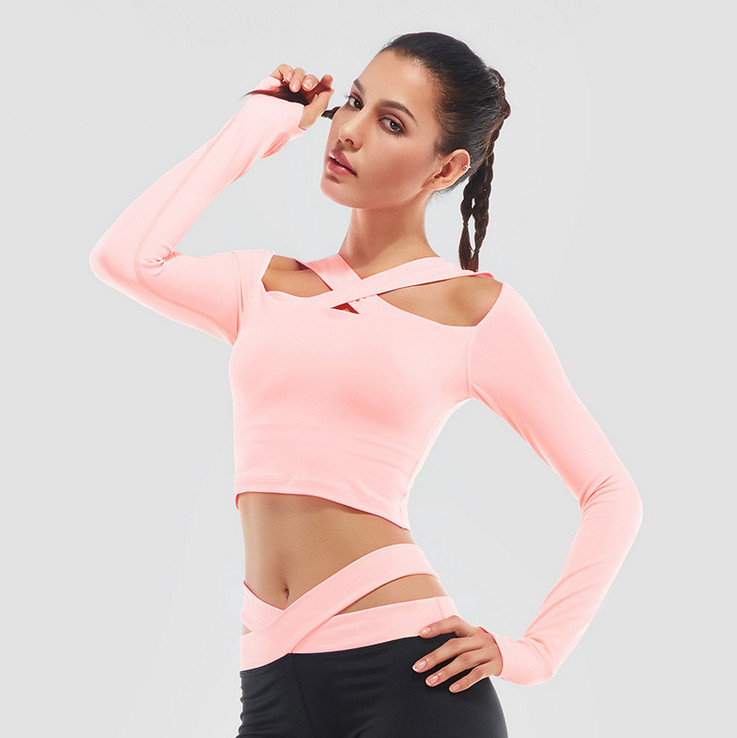 Adorable Women's Long Sleeves Thumb Holes Yoga Shirts Top Seamless Black Off Shoulder Running Tops Swiftly Workout Outfits