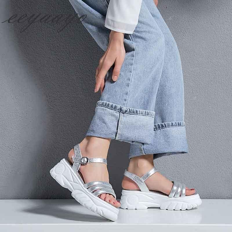 Sandalias Silver Plata De 2019 Las Con Mujeres Nuevo Zapatos Genuino Plataforma Casual Mujer Hebilla Cuero Cuña Moda Tacón Verano 0UCSwUq