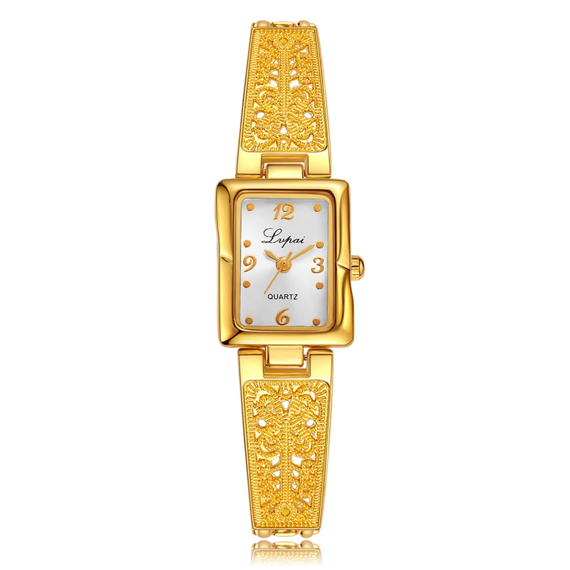 Lvpai Brand Women Fashion Casual Bracelet Watch Gold Ladies Wristwatch Diamond Square Luxury Women Dress Watches Quartz Watch 2016 women diamond watches steel band vintage bracelet watch high quality ladies quartz watch