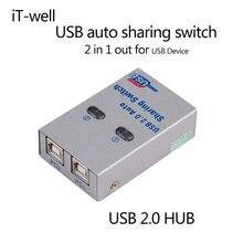 Новый Бренд USB 2.0 hub разветвитель USB Авто Обмен Switch компьютерная Периферия Для 2 ШТ. Компьютерных Принтеров Для Office Для Дома использовать
