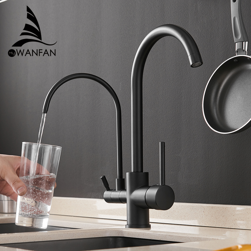 Filter Kitchen Faucets Deck Mounted Mixer Tap 360 Rotation with Water Purification Features Mixer Tap Crane