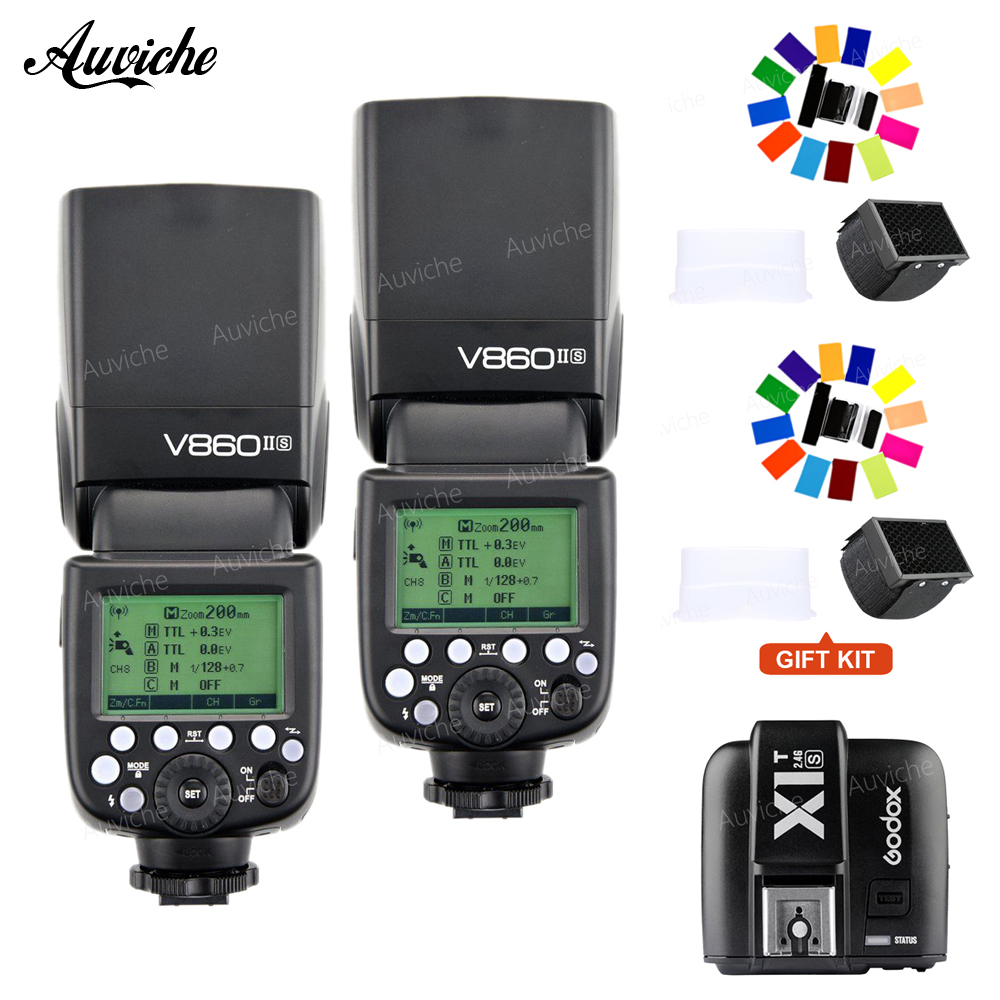 Godox V860II V860II-S Li-ion Battery TTL HSS Speedlite Flash TTL HSS Wtih XIT-S transmitter for Sony camera godox v860iis flash speedlite 2 v860ii s ttl hss 2 4g li ion battery x1t s trigger for sony dslr cameras supon free gift kit