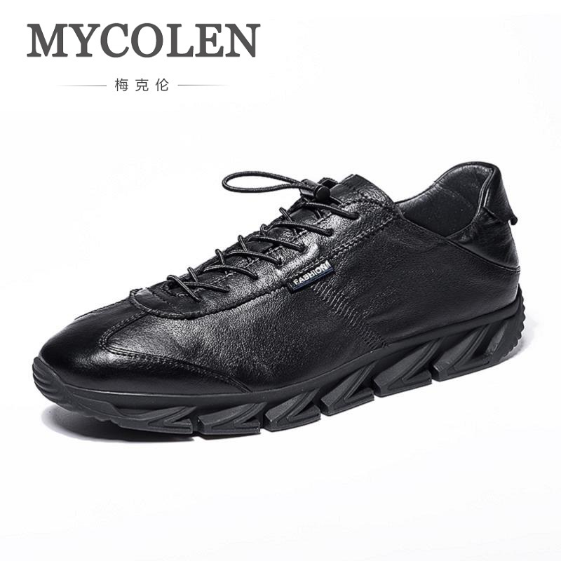 MYCOLEN New Arrivals Black White Shoes Men Casual Lace-Up Flats Men Canvas Shoes High Quality Classic Round Toe Brand Shoes the new puma womens shoes classic high classic star high tongue series white leather laser badminton shoes