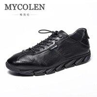 MYCOLEN New Arrivals Black White Shoes Men Casual Lace Up Flats Men Canvas Shoes High Quality Classic Round Toe Brand Shoes