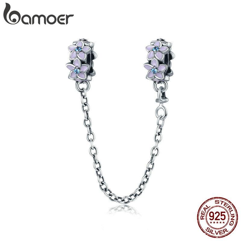 BAMOER 100% 925 Sterling Silver Purple Enamel Daisy Flower Safety Chain Stopper Charm Fit Charm Bracelet DIY Jewelry SCC602