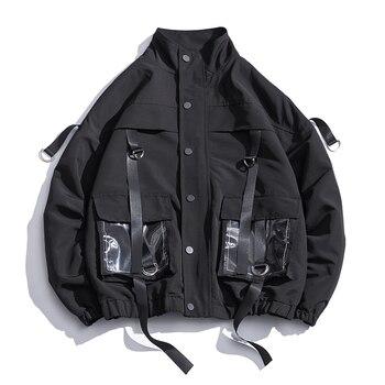 2021 Men Military Jacket Coats Casual Windbreaker Ribbons Pockets Men's Overalls Bomber Jacket Hip Hop Streetwear Man Outwear 1