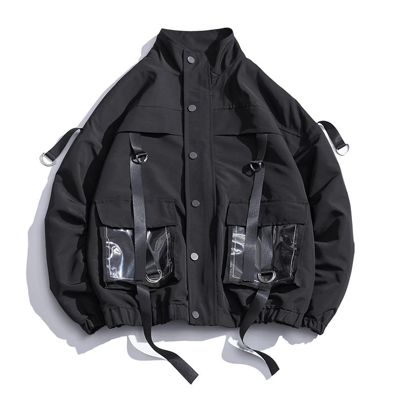 2019 Men Military Jacket Coats Casual Windbreaker Ribbons Pockets Men's Overalls Bomber Jacket Hip Hop Streetwear Man Outwear
