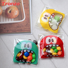 Tronzo 100pcs Birthday Gift Bag Wedding Favors And Gifts For Kids Funny Monster Candy Cookie Plastic Bag Birthday Party Supplies