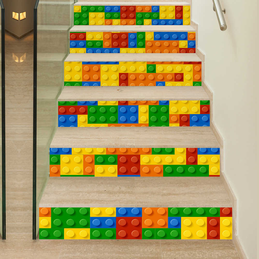 6 Pieces/Set Creative DIY 3D Stairway Stickers Lego Blocks Pattern for Room Stairs Decoration Home Decor Floor Wall Sticker