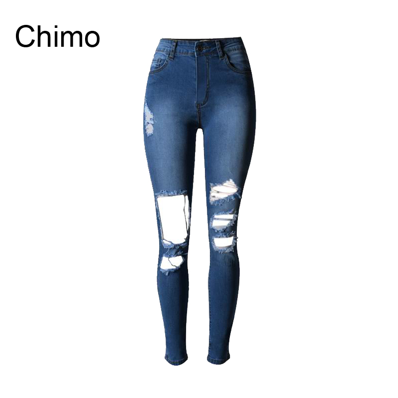 2017 Womens Fashion Jeans Full Length High-waist Ripped Jeans Skinny Hole Denim Pencil Pants Stretch Waist Women Jeans women sexy distressed hole denim jeans fashion cotton stretch full length jeans high waist skinny pencil pants
