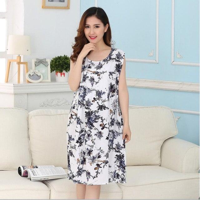 New Brand Sleep Lounge Women Sleepwear Cotton Nightgowns Sexy Indoor Clothing Home Dress White Nightdress Plus Size