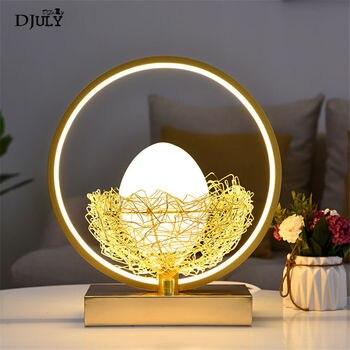 נורדי זהב ציפור קן ביצת led שולחן מנורת לילדים חדר שינה מחקר רומנטי חתונת דקו בית תאורת שולחן מנורת תינוק לילה אור