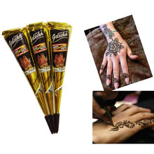 New 1 PC Black brown red white Henna Cones Indian Henna Tattoo Paste For Temporary Tattoo body art Sticker Body Paint(China)