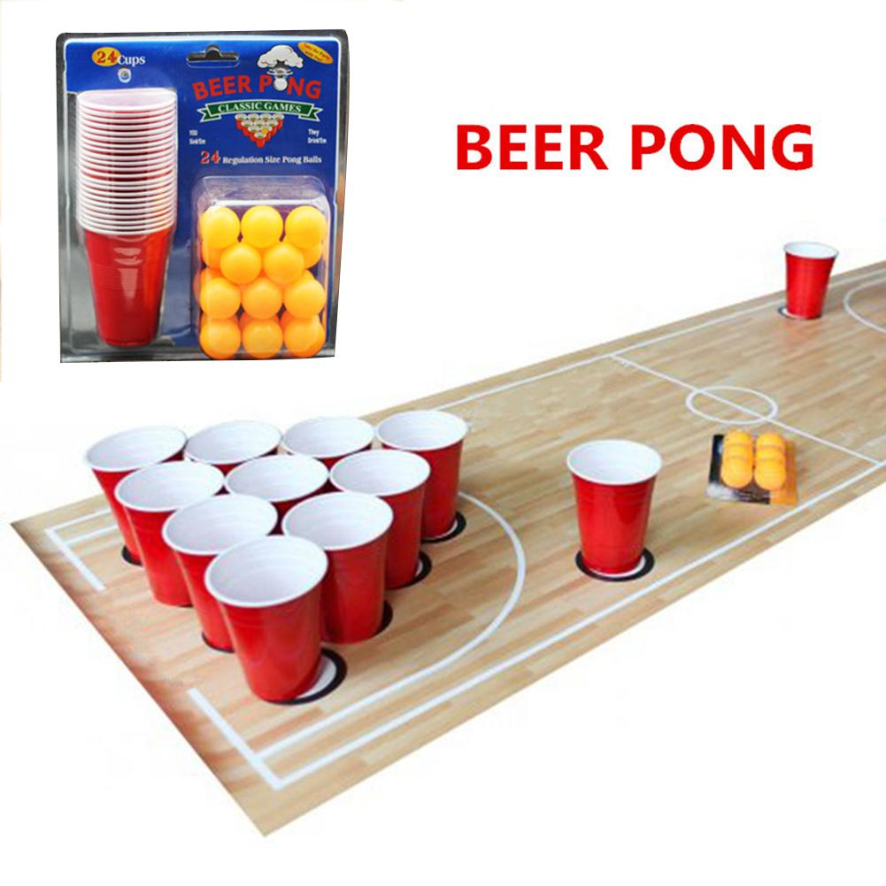 1 Set Entertainment Fun Party Ping Pong Game Party Game Throwing Drinking Props Beer Pong Set 24 Red Cups&yellow Ping Pong Balls