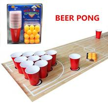 1 Set Entertainment Fun Party Ping Pong Game Throwing Drinking Props Beer 24 Red Cups&yellow Balls