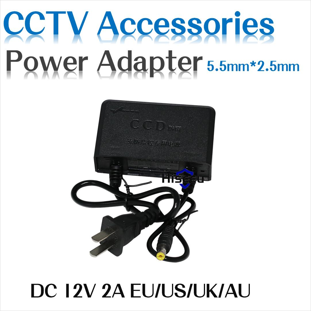 Hiseeu Europe US UK AU US Universal AC 100-240V Adaptor For DC 12V 2A Power Supply Adapter for 5.5mm*2.5mm SMD LED Light CCTV hotsale dc 12v 2a power supply adapter for cctv cameras surveillance system eu us uk au plug