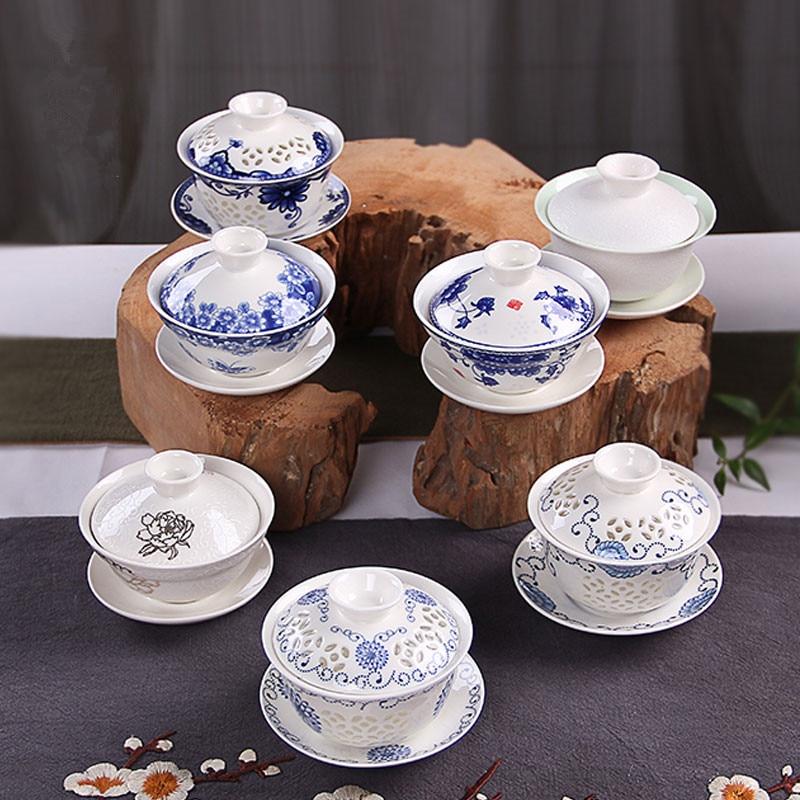 Chinese Tureen Tea Cup Set Ceramic Kung Fu Tea Cup And Saucer Set Drinkware