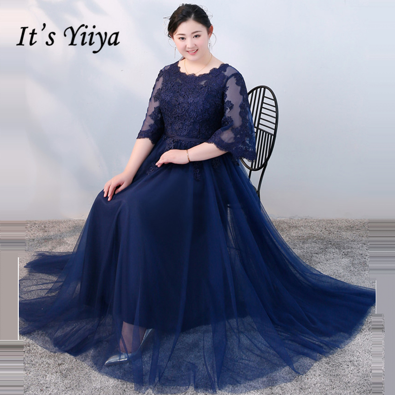 Its Yiiya Evening Dress 2018 O Neck Tulle Plus Size Lace Customed