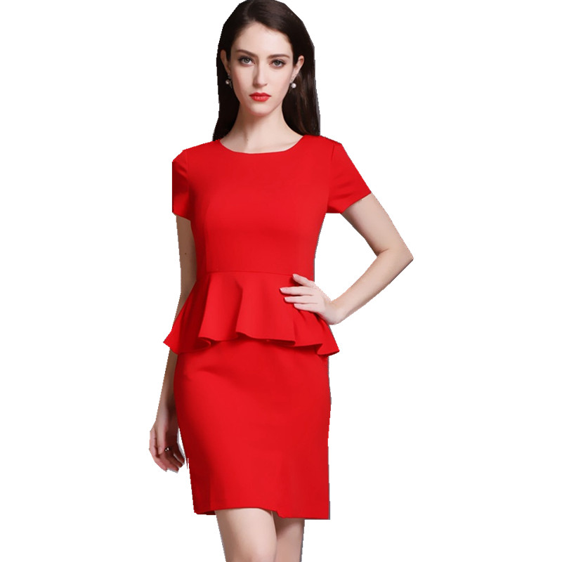 26687864fa5 Fmasuth Women Dresses Plus Size Summer Short Sleeve Fake 2 Pieces Ruffle  Waist Office Lady Work Dresses YR-66839