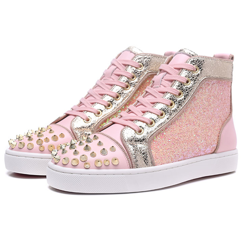 New Fashion Pink Sneakers Fashion Rivets Studs High Top Lace Up Women Flats Casual Shoes Street Style Party Dress Shoes Woman 40