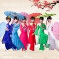 6 Color de Los Niños Traje De La Danza China Del Cabrito Ropa de Baile Yangko Fan Chica Desgaste de la Danza Paraguas Chino Traje de la Danza Demostración de la Etapa