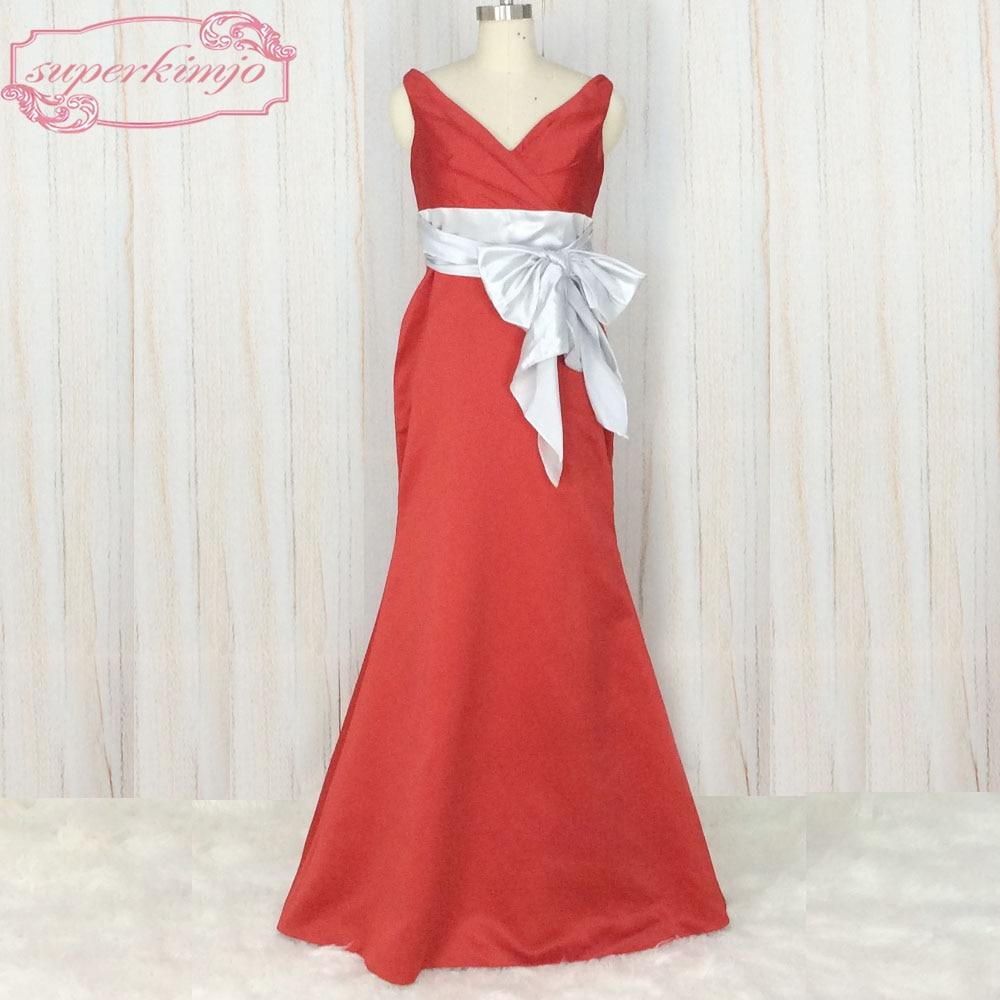 Superkimjo wedding guest dresses 2018 modest v neck red for Red wedding dresses cheap