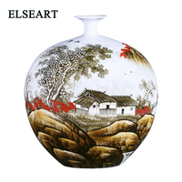 Hand painted landscape vase new Chinese style flower vase home decoration