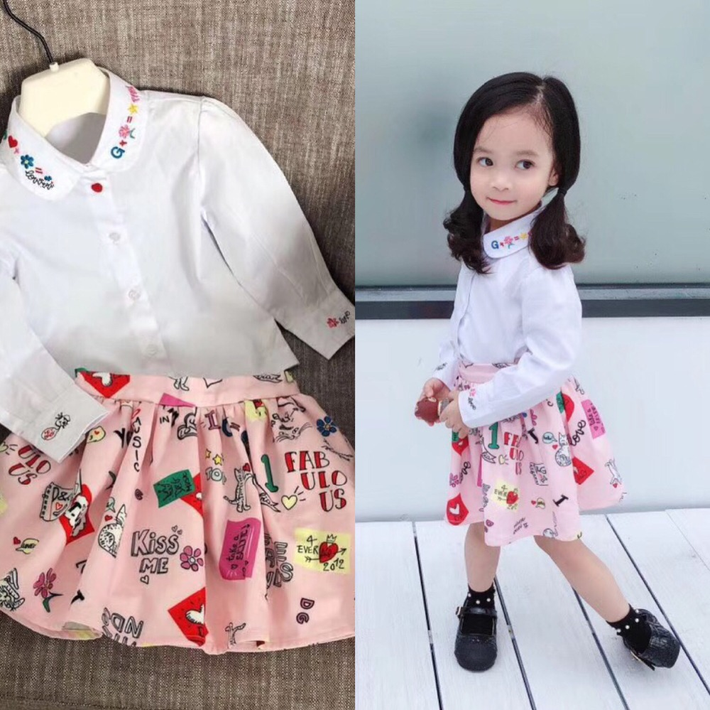 Girl Shirts White Color Turn-down Collar Long Sleeve Tops Embroidered Floral Letter Dog Pattern Girls Blouses Children Clothes girls shirts long sleeve button cotton turn down collar letter plaid shirts for kids girls autumn clothes size 9 10 11 12 13 14y