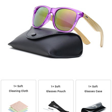 Ablibi Women's Clear Purple Bamboo Wood Sunglasses for Ladies Non-polarized