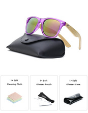 Ablibi Women's Clear Purple Bamboo Wood Sunglasses for Ladies Non-polarized Cheap Glasses Eyewear in Leather Case
